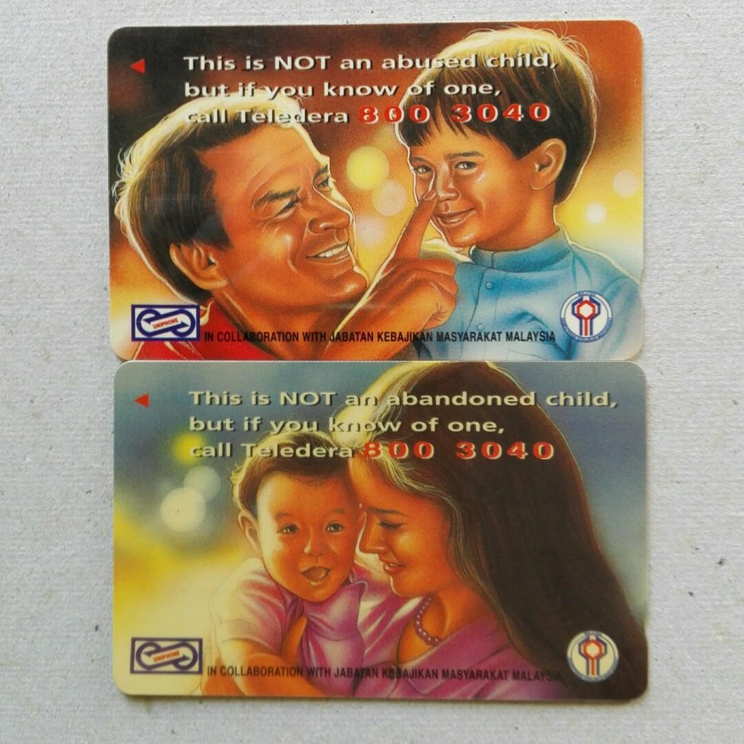 Used Uniphone Phone Cards - 2 pcs Abandoned & Abused Child