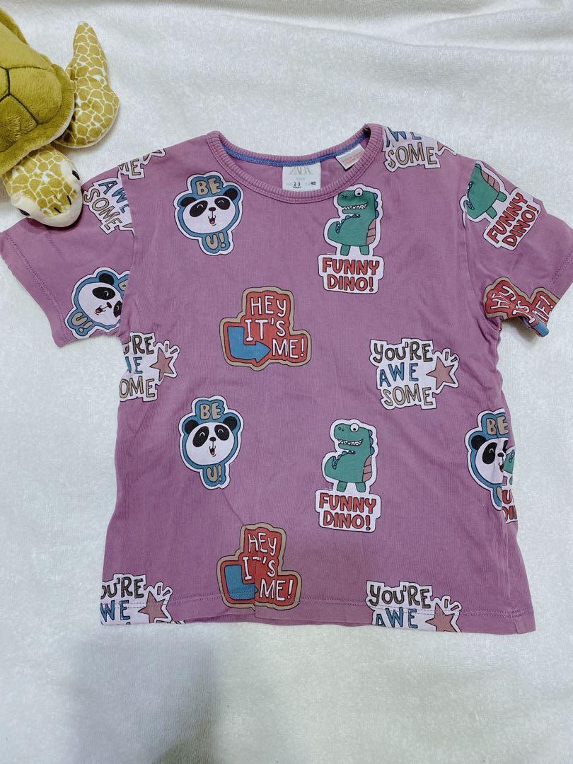 出清二手ZARA baby恐龍熊貓短袖上衣