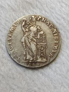 1764 1 Gulden Netherlands Silver Coin 0.92 Silver