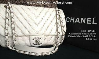 2017 CHANEL Classic Ivory White Chevron Calfskin Silver Studded Chain L Flap Bag