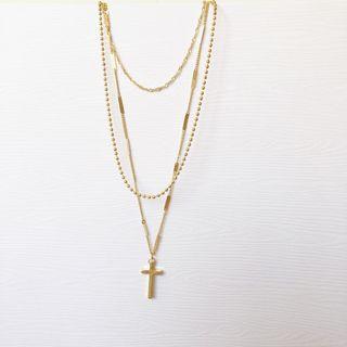 現貨!✨個性時尚十字架多層疊戴頸鍊簡約氣質鏈實拍
