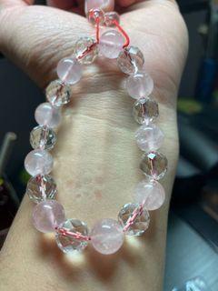 粉晶搭配鑽石切割面白水晶
