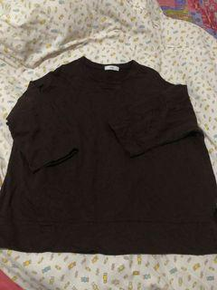 正韓 寬版深咖啡色七分袖長版衛衣 大學t