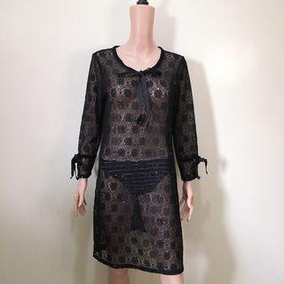 C1229 - NB Black Lace with Sequins Long Sleeves with Velvet Tie/Trimmings