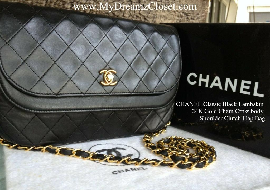 CHANEL Classic Black Lambskin 24K Gold Chain Cross body Shoulder Clutch Flap Bag