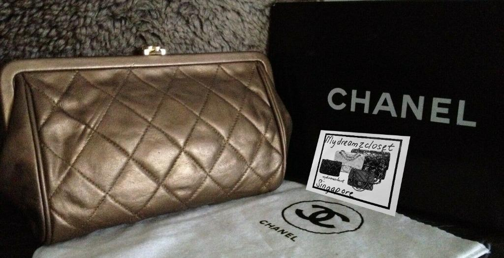 CHANEL Classic Quilted Bronze Lambskin Leather Gold CC Kiss Lock Vintage Clutch