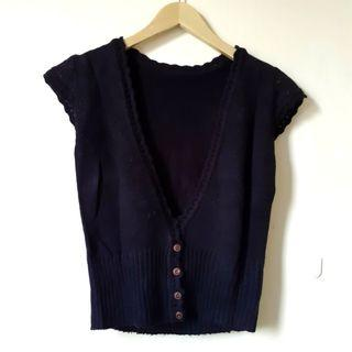 Korean Black Knit Crop Short Sleeve