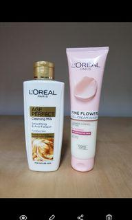 Loreal Age Perfect Cleansing Milk 200 ml/ Fine  Flowers Gel Cream Wash 150ml (2 pcs)