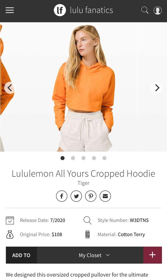 Lululemon all yours crop hoodie size 4