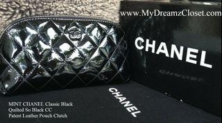 MINT CHANEL Classic Black Quilted So Black CC Patent Leather Pouch Clutch