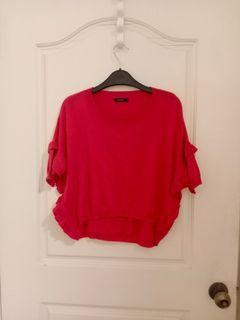 moma 桃紅色特殊造型針織罩衫
