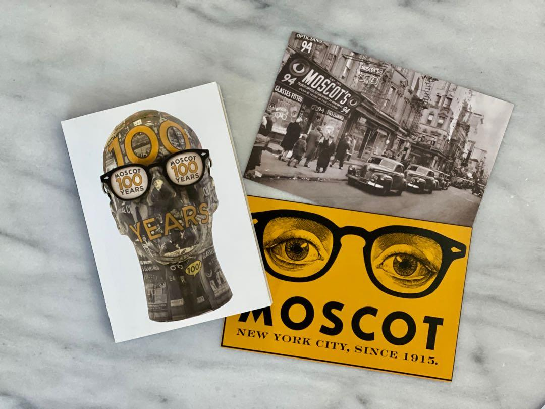 Moscot 100 year brand booklet and postcards ray ban ford tom