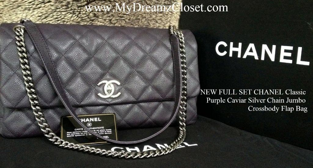 NEW FULL SET CHANEL Classic Purple Caviar Silver Chain Jumbo Crossbody Flap Bag