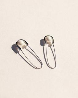 Silver best dressed safety pin earrings