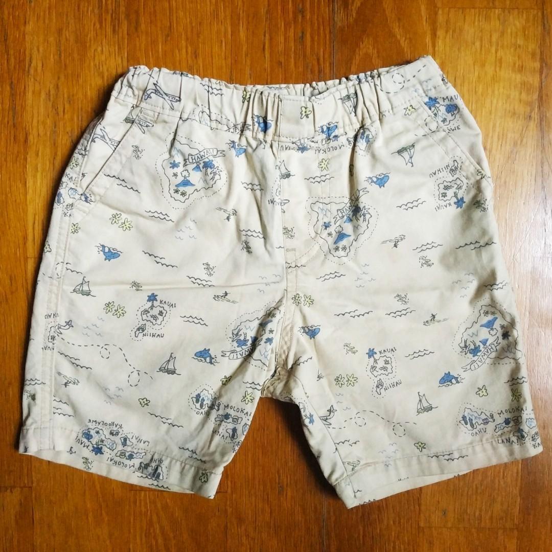 Uniqlo男童島嶼旅行抽繩綁帶休閒短褲XS (90-110cm)