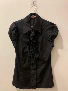 ZAX 黑色包袖襯衫上衣 顯瘦