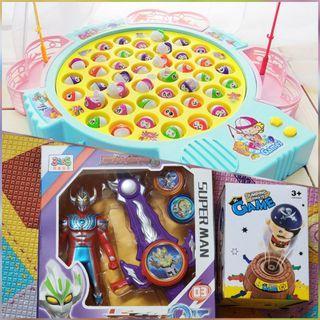 馬卡龍加大加厚42隻釣魚玩具 超人彈射玩具 海盜桶
