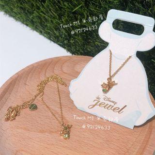 《日本直送》 Disney Tinker Bell 頸鏈 頸鍊 小仙女 Necklace 金屬 飾物 17吋長 鍊咀上有綠色閃石
