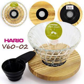 <甜甜價> HARIO V60橄欖木玻璃濾杯VDG-02OV附盒子+原廠豆勺