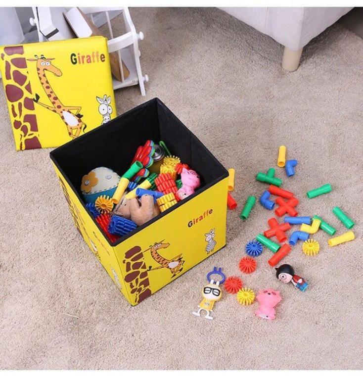 Animal Storage box / Tempat Mainan / Majalah /kursi organizer - yellow giraffe