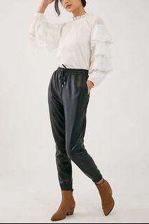 Anthropologie Faux Leather Joggers