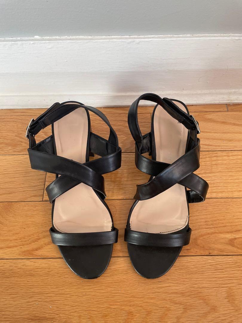 Black Crossed Color Block Heels