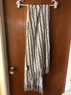 Elegant white with black stripes knit shawl scarf