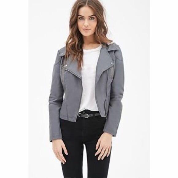 F21 Grey leather jacket