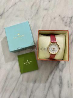 Kate Spade Pink Crocodile Leather Gold Quartz Watch wallet tory