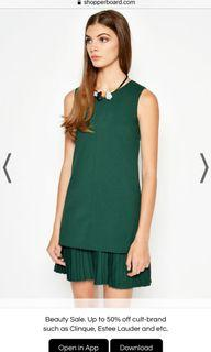 Love & Bravery Bailey Layered Pleated Dress in emerald