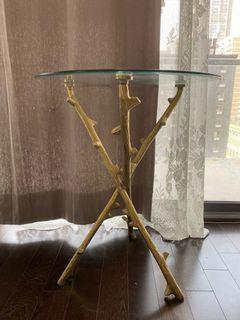 Crafted design versatile gold glass accent side table end table