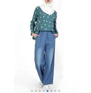 Poplook polkadot blouse (soft blue)