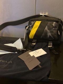 PRADA Technical Fabric Sling Bag - Black w/ Blue Camou & Yellow Strip