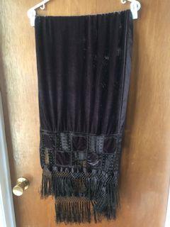 Vintage crushed velveteen burgundy brown shawl pashmina