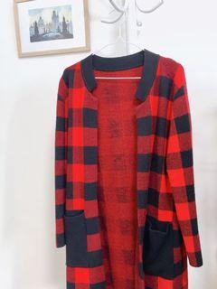 紅黑格紋厚磅數毛外套