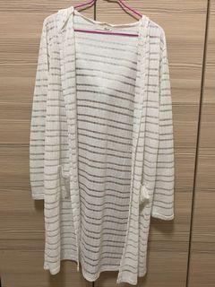 橫條透膚罩衫(白色)#防疫