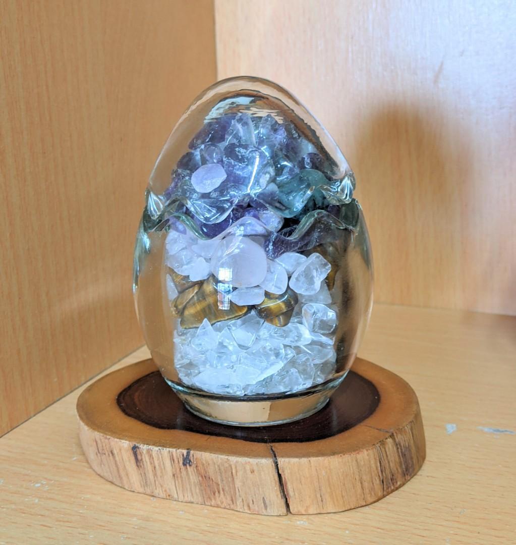 能量石-健康 原礦蛋型擺飾