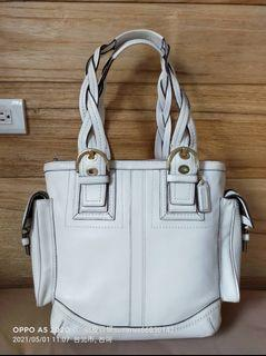 COACH 1941 All American Baseball Glove Tote with Dustbag white Leather Shoulder Bag