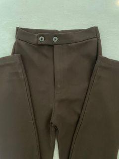 Brown straight leg y2k pants trousers celana coklat celana kerja two buttons bootcut brown pants model off duty