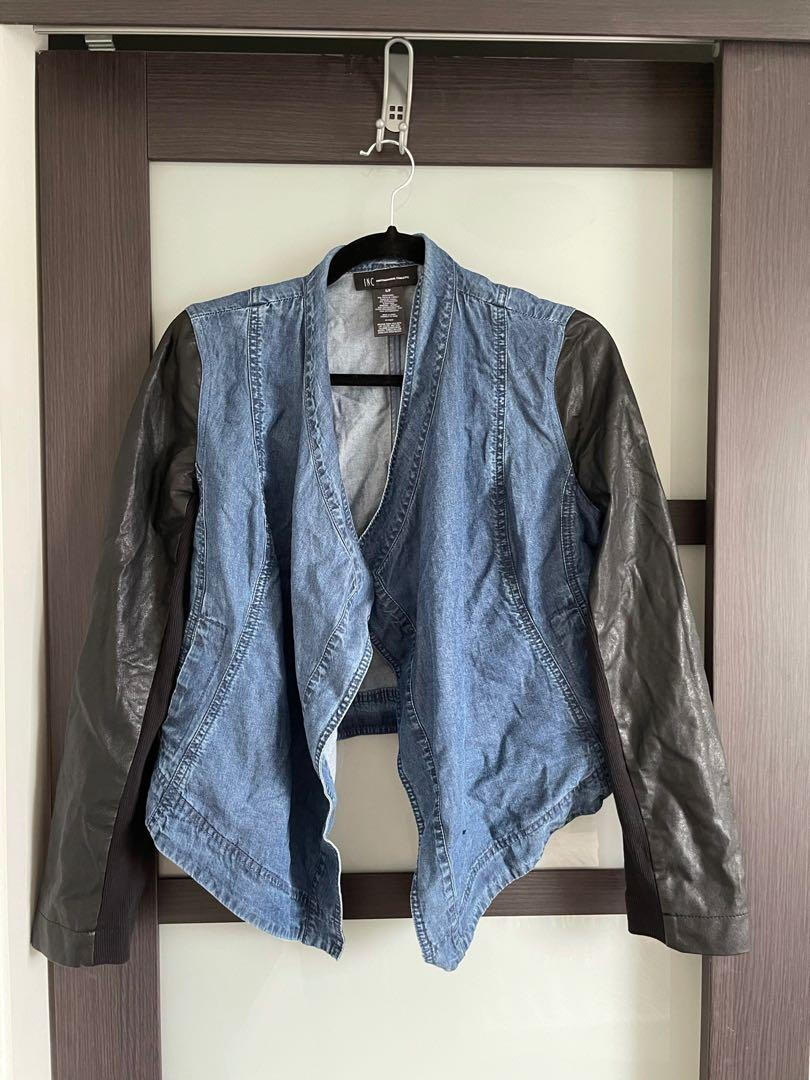 Denim pleather sweater