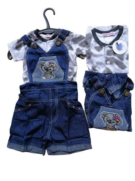 DISKON 25% Set Overall Jeans + Kaos Usia 2-5 Tahun