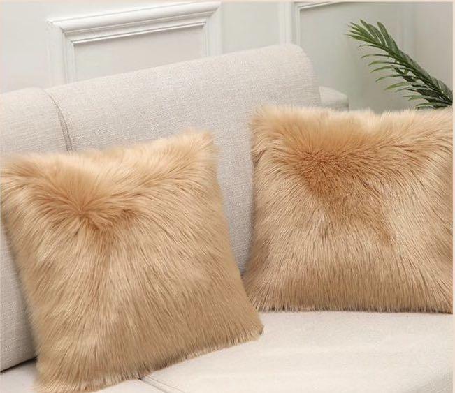 Fluffy Faux Fur Cushion Cover (Light Brown)