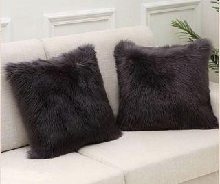 Fluffy Faux Fur Cushion Cover (Black)