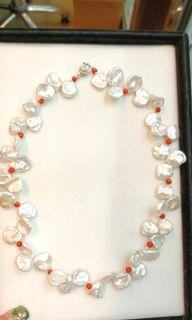 """Keshi-Pearl Necklace Coral Beads Necklace with SilverCkasp 17""""Long"""