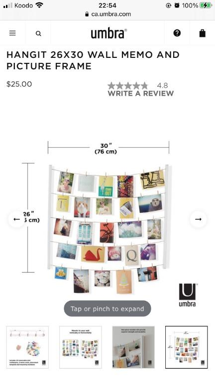 New Umbra White HANGIT wooden clip 26X30 WALL MEMO Photo Display PICTURE FRAME
