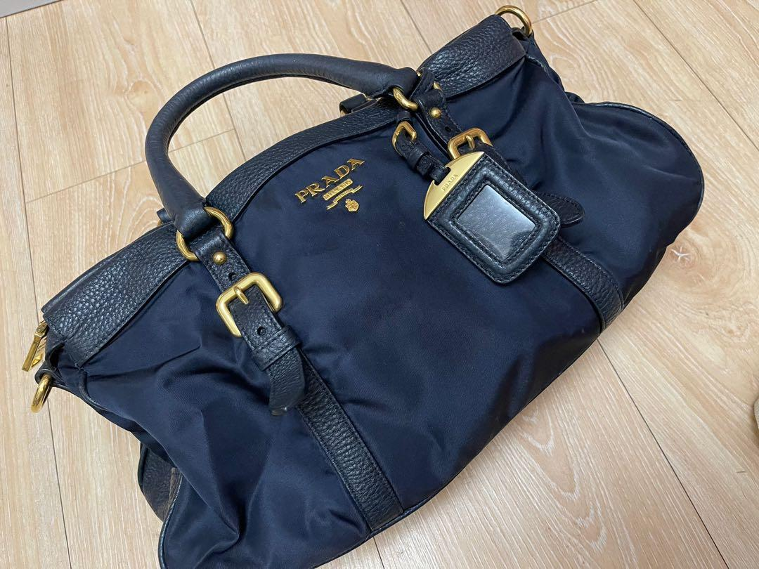 Prada手拿旅行包休閒包旅遊包,二手九成新,因為沒有肩帶便宜賣