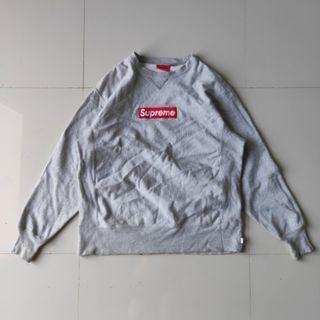 Supreme Box Logo Crewneck Grey | Jaket Sweater