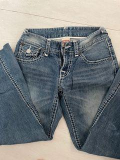 True religion jeans Celana flare bootcut y2k low rise true religion contrast stitching