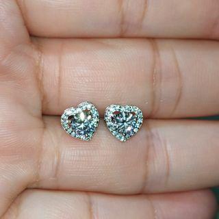 50份莫桑耳環白鑽S925銀托心形耳環 (附GRA證書) Moissanite