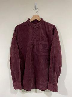 516 亨利領燈芯絨襯衫 / 酒紅 / XL號